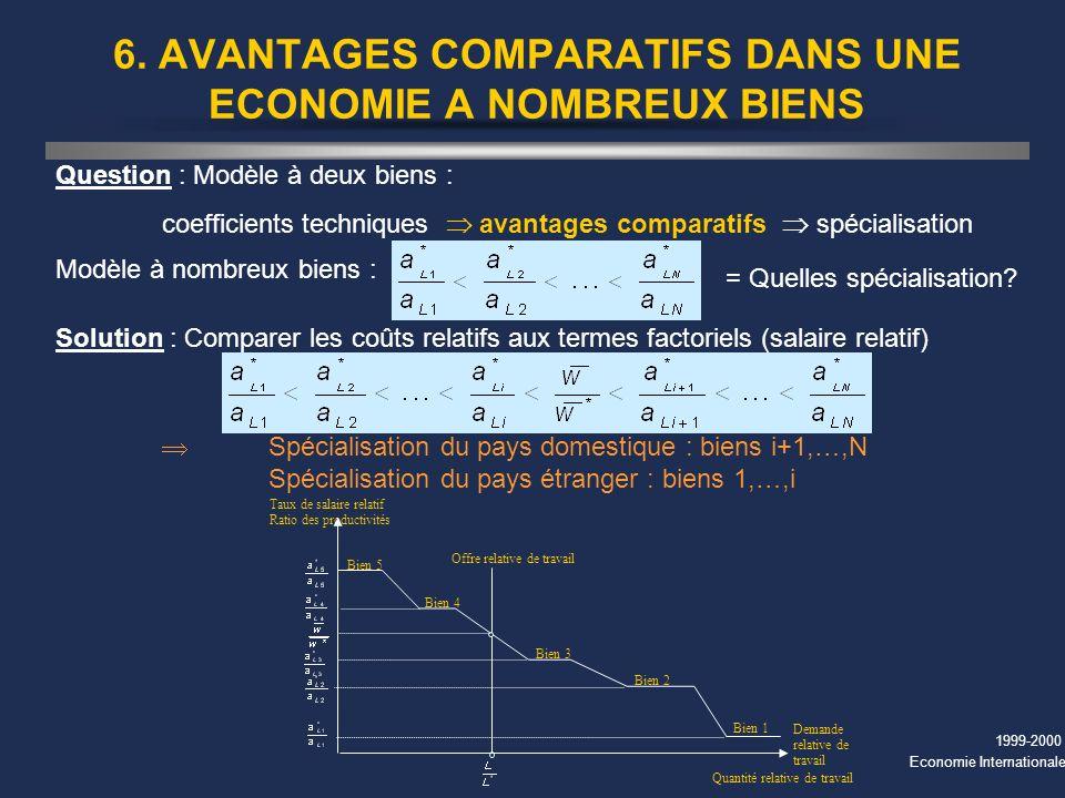 1999-2000 Economie Internationale 6. AVANTAGES COMPARATIFS DANS UNE ECONOMIE A NOMBREUX BIENS Question : Modèle à deux biens : coefficients techniques