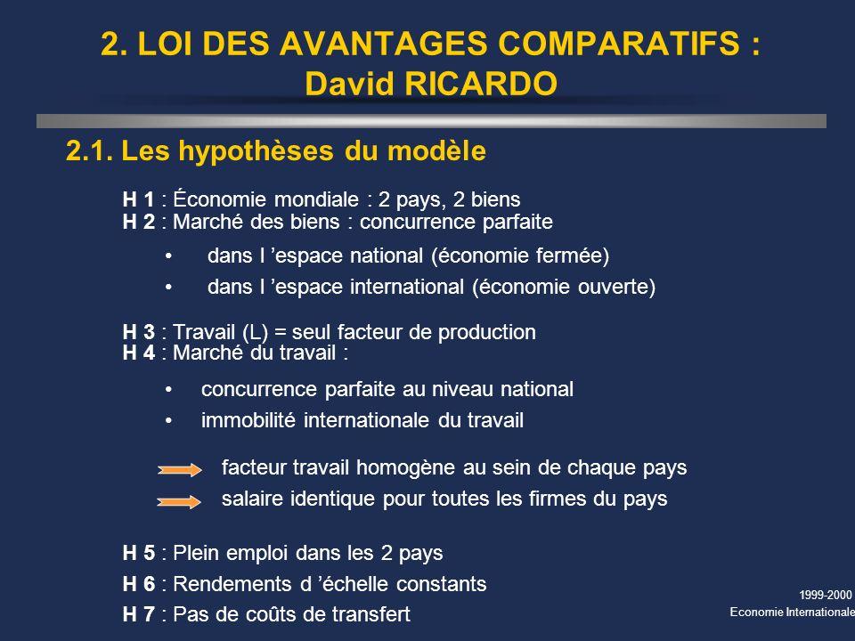 1999-2000 Economie Internationale 2. LOI DES AVANTAGES COMPARATIFS : David RICARDO 2.1. Les hypothèses du modèle H 1 : Économie mondiale : 2 pays, 2 b