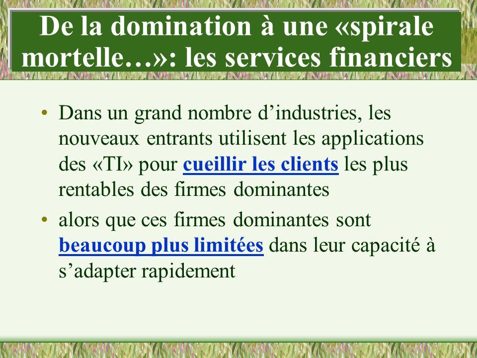 De la domination à une «spirale mortelle…»: les services financiers Dans un grand nombre dindustries, les nouveaux entrants utilisent les applications