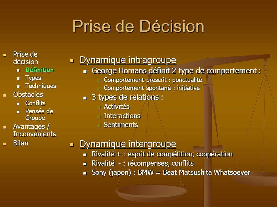 Prise de Décision Prise de décision Prise de décision Définition Définition Types Types Techniques Techniques Obstacles Obstacles Conflits Conflits Pe