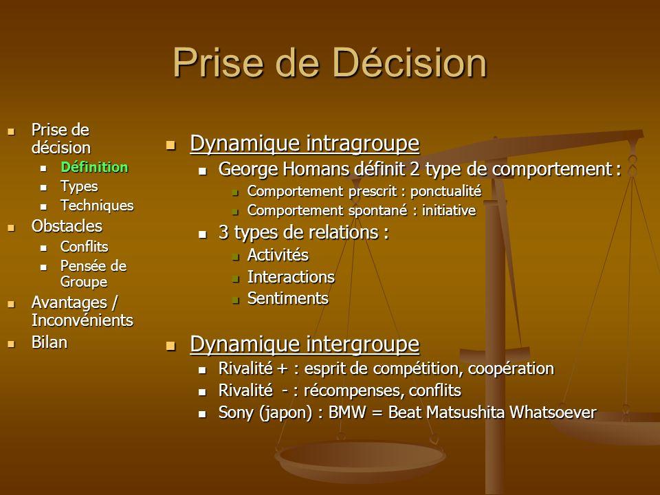 Prise de Décision Prise de décision Prise de décision Définition Définition Types Types Techniques Techniques Obstacles Obstacles Conflits Conflits Pensée de Groupe Pensée de Groupe Avantages / Inconvénients Avantages / Inconvénients Bilan Bilan Vote à main levée, chef de projet qui tranche, tour de table … Edgar Schein a étudié les processus décisionnels dans les groupes Il en a déduit 6 grands type de prise de décision