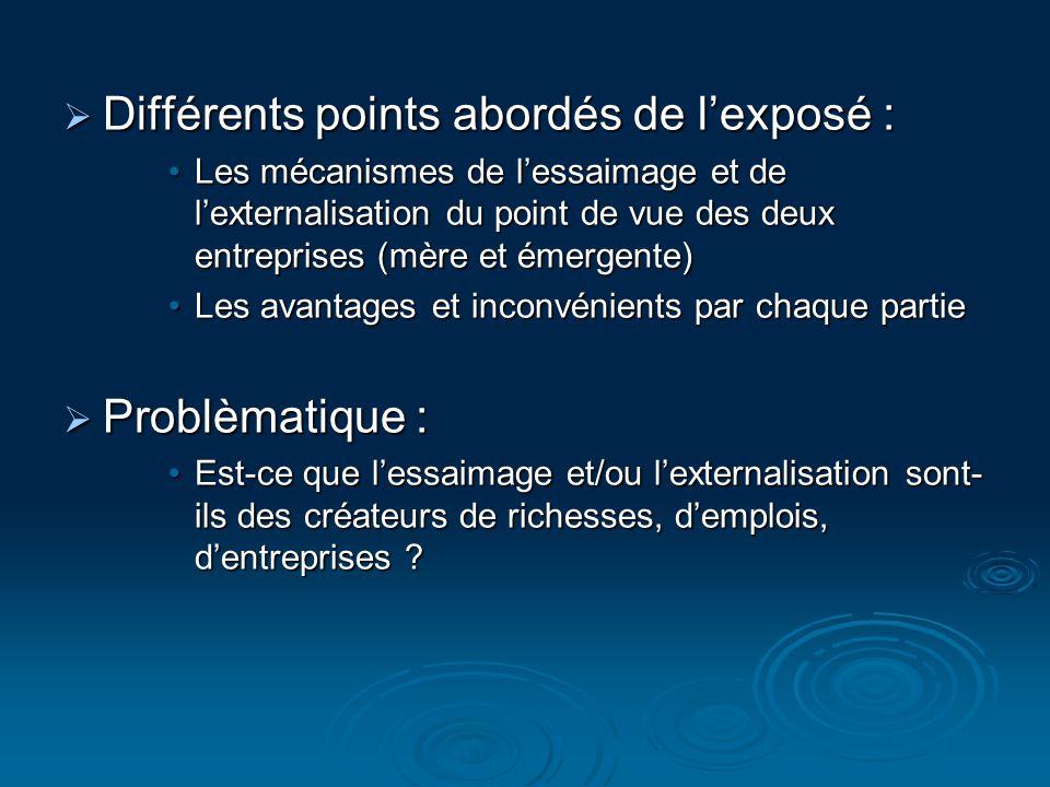 Différents points abordés de lexposé : Différents points abordés de lexposé : Les mécanismes de lessaimage et de lexternalisation du point de vue des