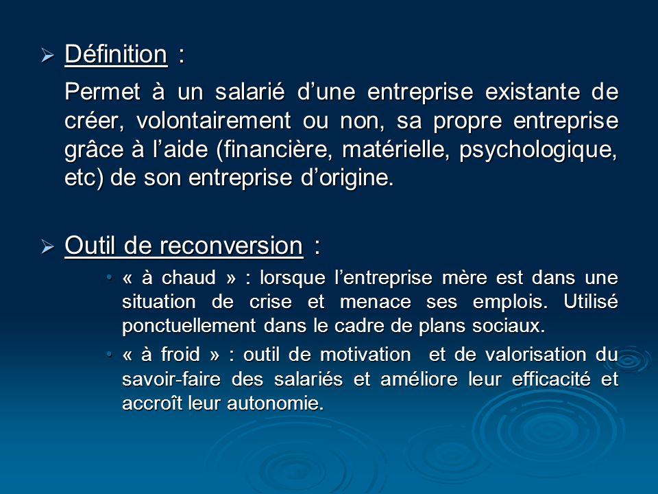 Définition : Définition : Permet à un salarié dune entreprise existante de créer, volontairement ou non, sa propre entreprise grâce à laide (financièr