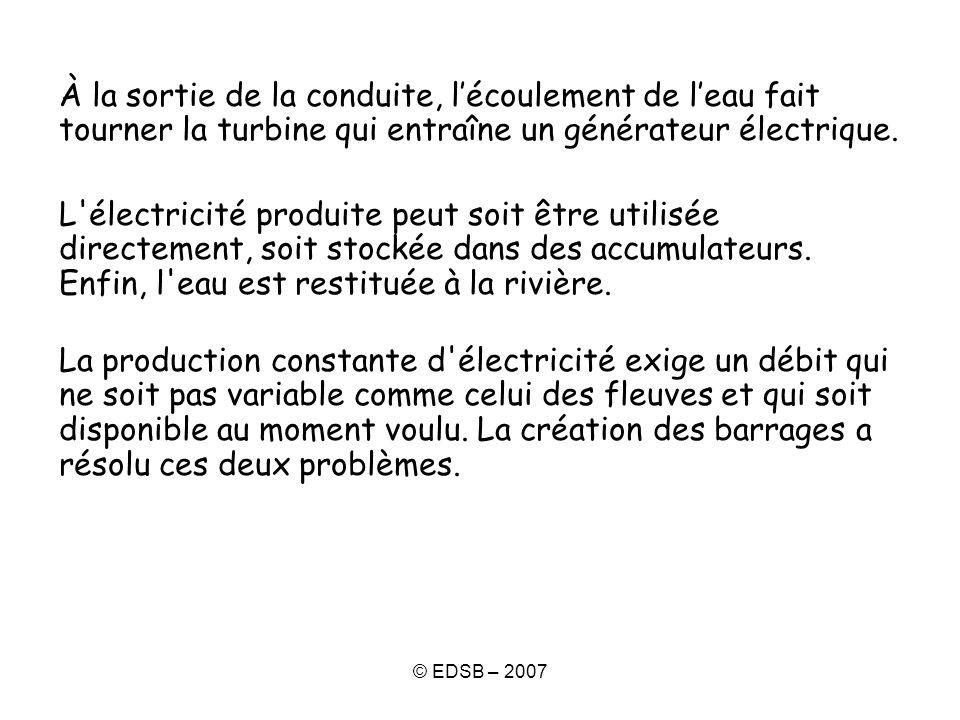 © EDSB – 2007 À la sortie de la conduite, lécoulement de leau fait tourner la turbine qui entraîne un générateur électrique. L'électricité produite pe
