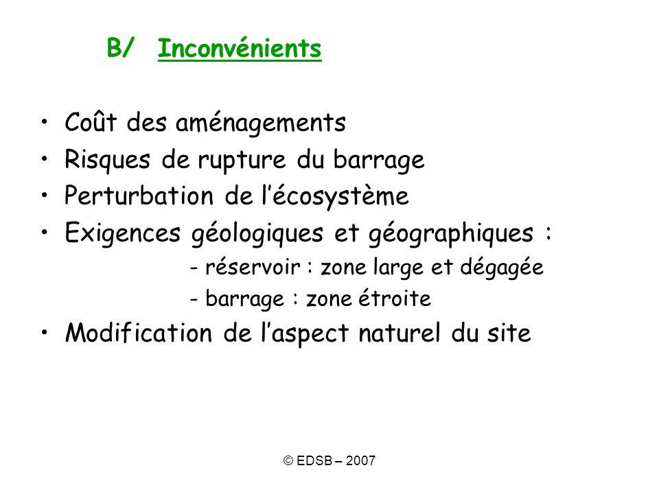 © EDSB – 2007 B/ Inconvénients Coût des aménagements Risques de rupture du barrage Perturbation de lécosystème Exigences géologiques et géographiques