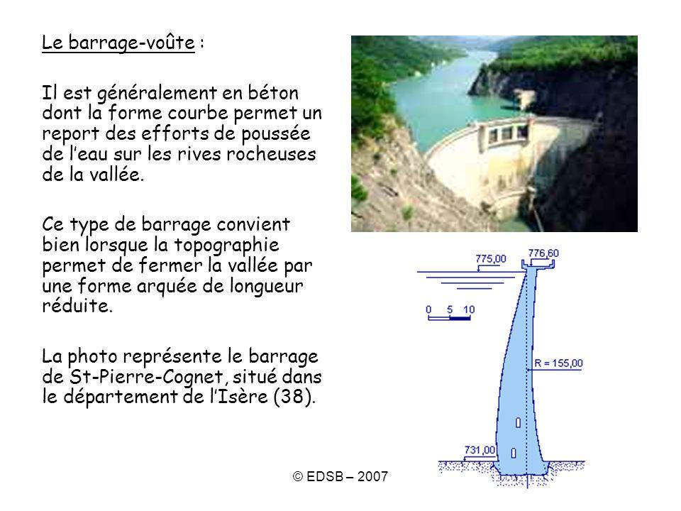 © EDSB – 2007 Le barrage-voûte : Il est généralement en béton dont la forme courbe permet un report des efforts de poussée de leau sur les rives roche