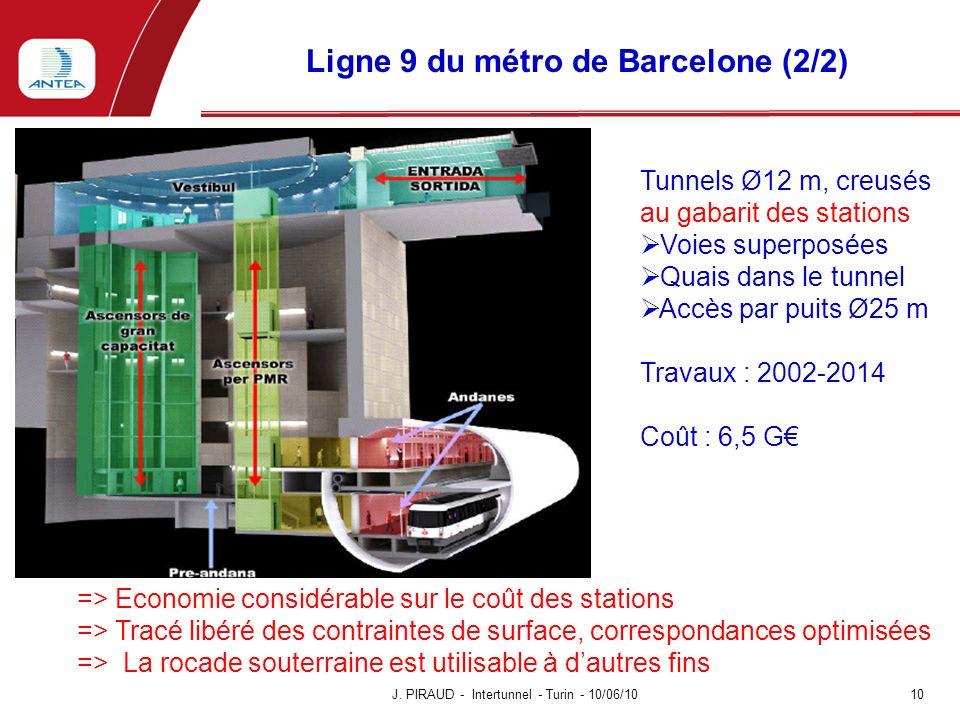 Ligne 9 du métro de Barcelone (2/2) J. PIRAUD - Intertunnel - Turin - 10/06/10 10 => Economie considérable sur le coût des stations => Tracé libéré de