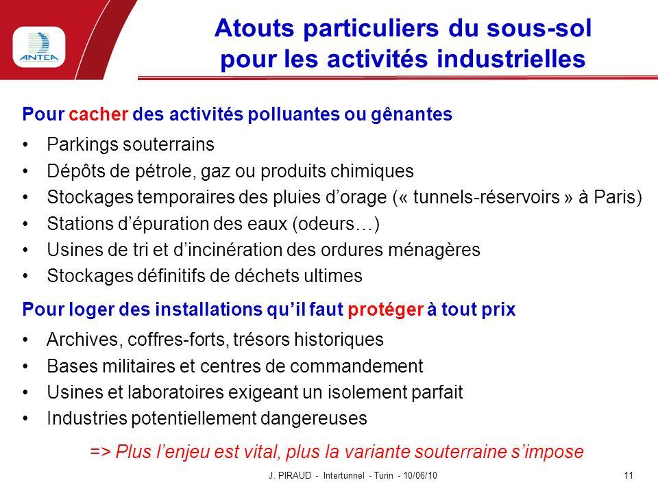 Atouts particuliers du sous-sol pour les activités industrielles Pour cacher des activités polluantes ou gênantes Parkings souterrains Dépôts de pétro