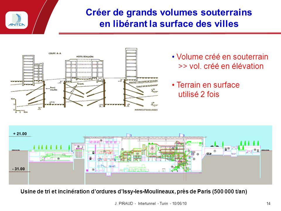 Créer de grands volumes souterrains en libérant la surface des villes 14 J. PIRAUD - Intertunnel - Turin - 10/06/10 Usine de tri et incinération dordu