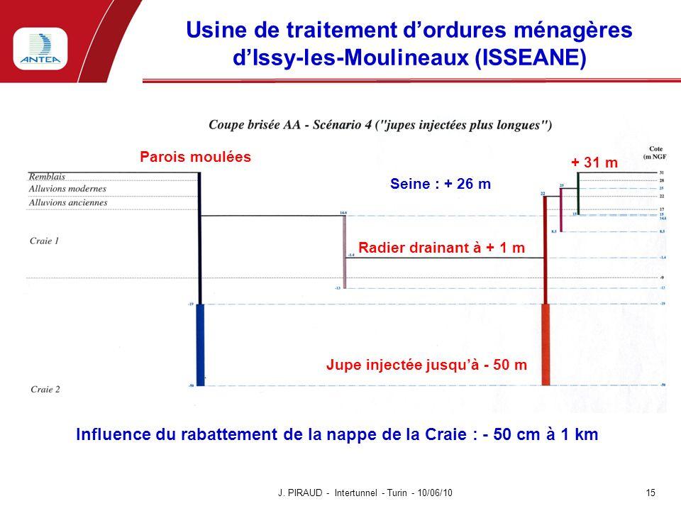 Usine de traitement dordures ménagères dIssy-les-Moulineaux (ISSEANE) J. PIRAUD - Intertunnel - Turin - 10/06/10 15 + 31 m Radier drainant à + 1 m Sei