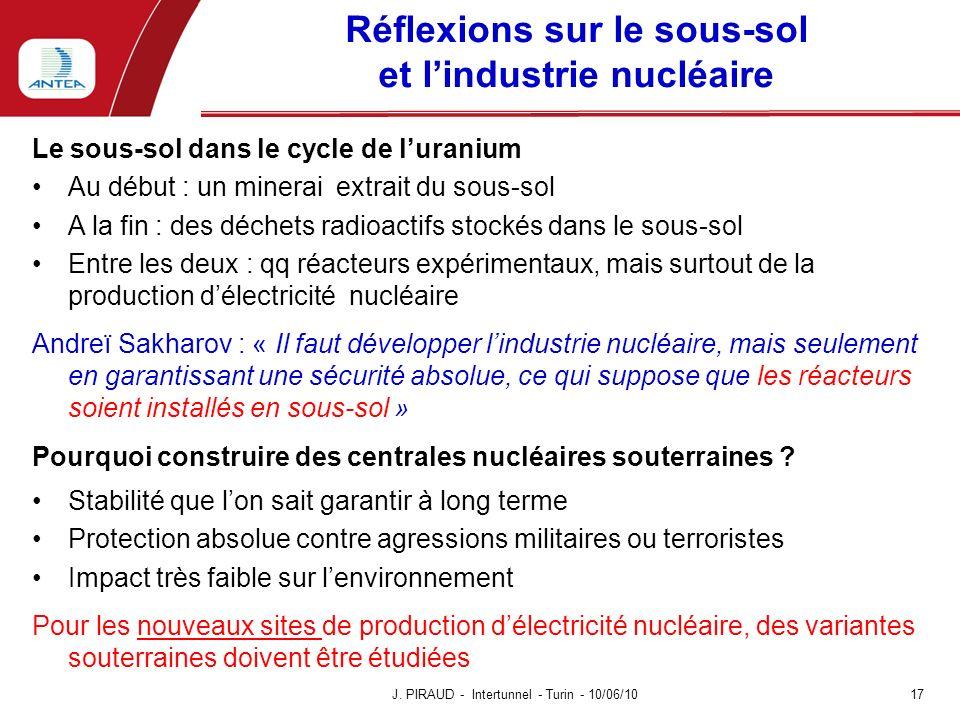 Réflexions sur le sous-sol et lindustrie nucléaire Le sous-sol dans le cycle de luranium Au début : un minerai extrait du sous-sol A la fin : des déch