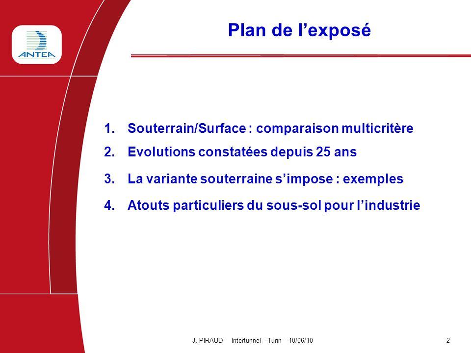 Plan de lexposé 1.Souterrain/Surface : comparaison multicritère 2.Evolutions constatées depuis 25 ans 3.La variante souterraine simpose : exemples 4.A