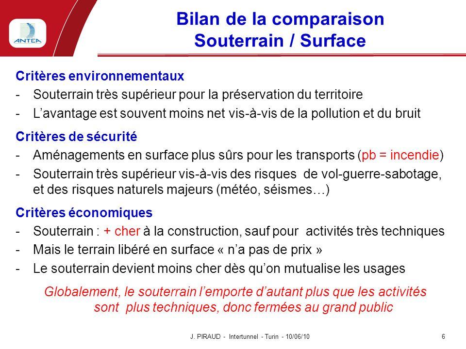 Bilan de la comparaison Souterrain / Surface Critères environnementaux -Souterrain très supérieur pour la préservation du territoire -Lavantage est so