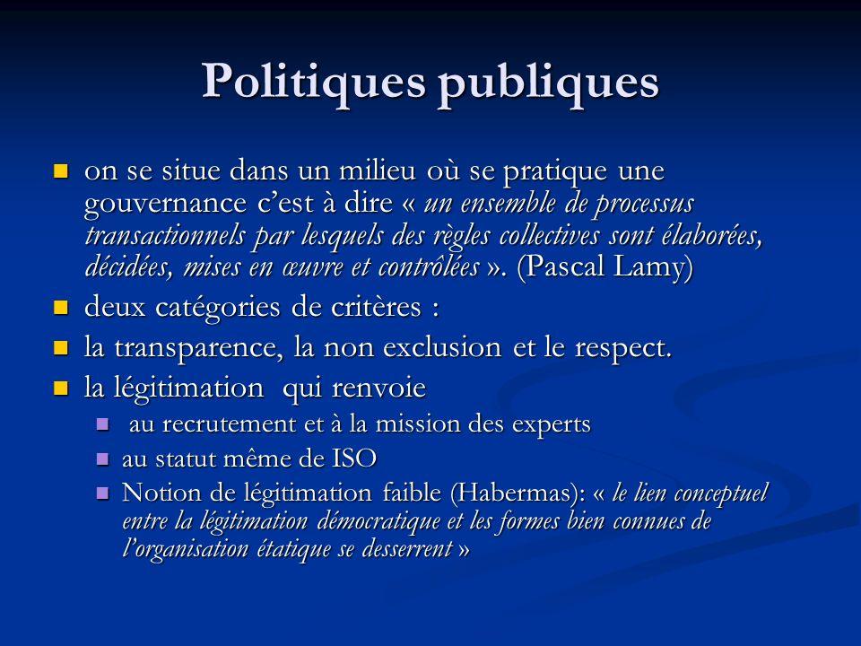 Politiques publiques on se situe dans un milieu où se pratique une gouvernance cest à dire « un ensemble de processus transactionnels par lesquels des