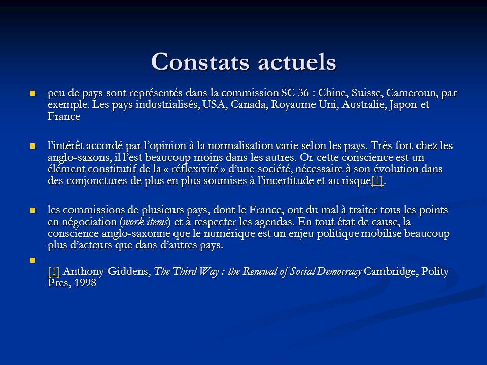 Constats actuels peu de pays sont représentés dans la commission SC 36 : Chine, Suisse, Cameroun, par exemple. Les pays industrialisés, USA, Canada, R