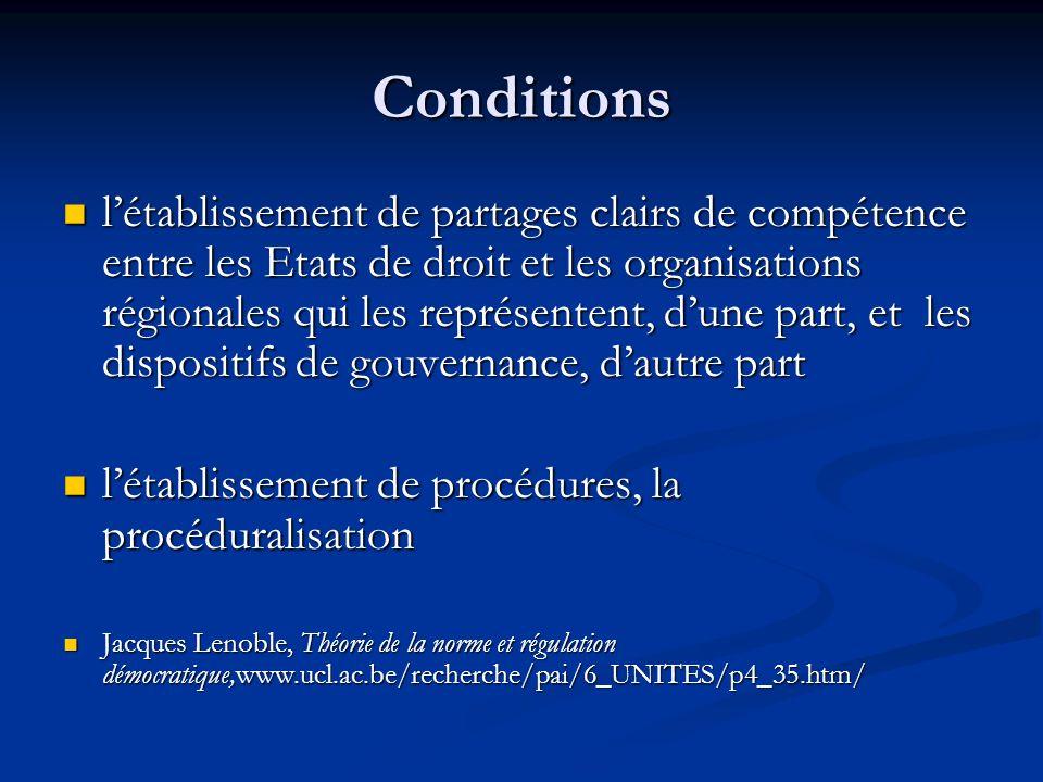 Conditions létablissement de partages clairs de compétence entre les Etats de droit et les organisations régionales qui les représentent, dune part, e
