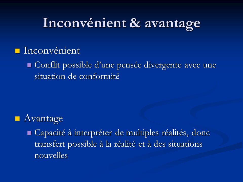 Inconvénient & avantage Inconvénient Inconvénient Conflit possible dune pensée divergente avec une situation de conformité Conflit possible dune pensé