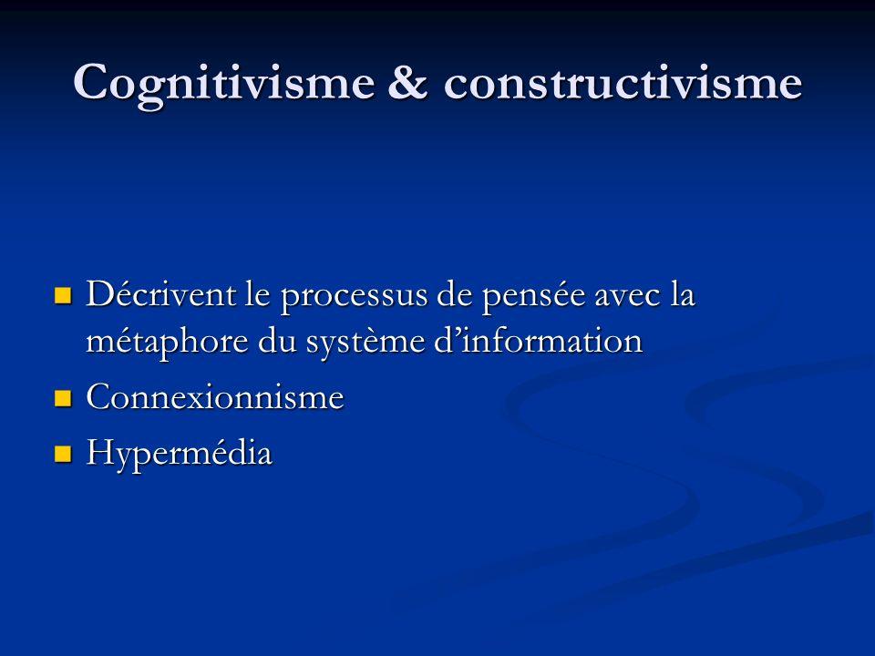 Cognitivisme & constructivisme Décrivent le processus de pensée avec la métaphore du système dinformation Décrivent le processus de pensée avec la mét