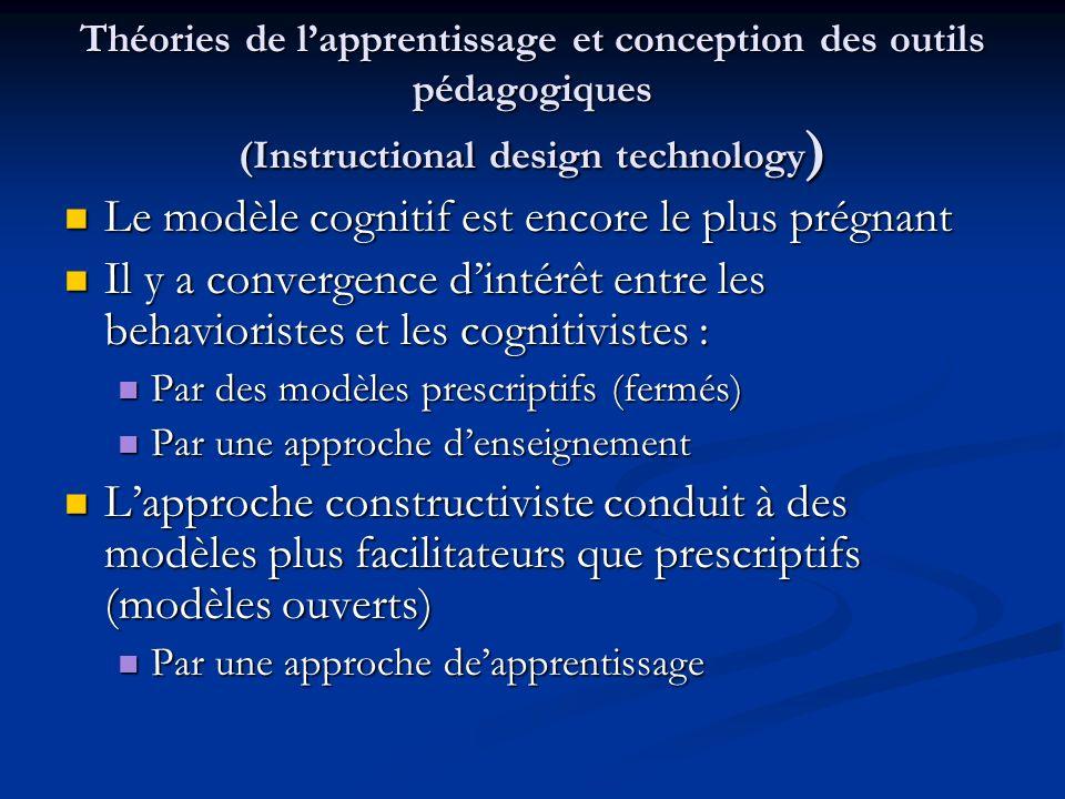 Théories de lapprentissage et conception des outils pédagogiques (Instructional design technology ) Le modèle cognitif est encore le plus prégnant Le