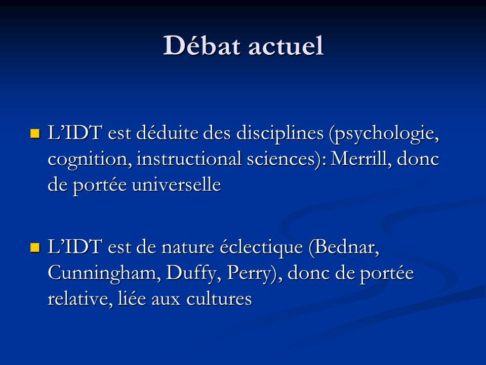 Débat actuel LIDT est déduite des disciplines (psychologie, cognition, instructional sciences): Merrill, donc de portée universelle LIDT est déduite d