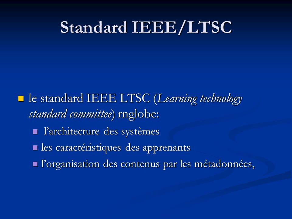 Standard LOM LOM : Learning Object Metadata (IEEE) LOM : Learning Object Metadata (IEEE) Le terme « learning object » désigne des cours et des ressources pour lapprentissage Le terme « learning object » désigne des cours et des ressources pour lapprentissage Objectif du standard: normaliser les métadonnées qui décrivent ces objets : Objectif du standard: normaliser les métadonnées qui décrivent ces objets : 1) organisation générale de lobjet 1) organisation générale de lobjet 2) cycle de vie du document source 2) cycle de vie du document source 3) métamétadonnées, c est-à-dire linformation spécifique à lenregistrement des métadonnées 3) métamétadonnées, c est-à-dire linformation spécifique à lenregistrement des métadonnées 4) format, la taille, etc.