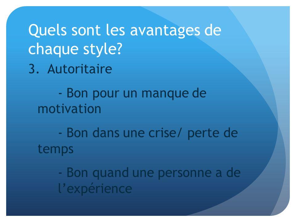 Quels sont les avantages de chaque style? 3. Autoritaire - Bon pour un manque de motivation - Bon dans une crise/ perte de temps - Bon quand une perso