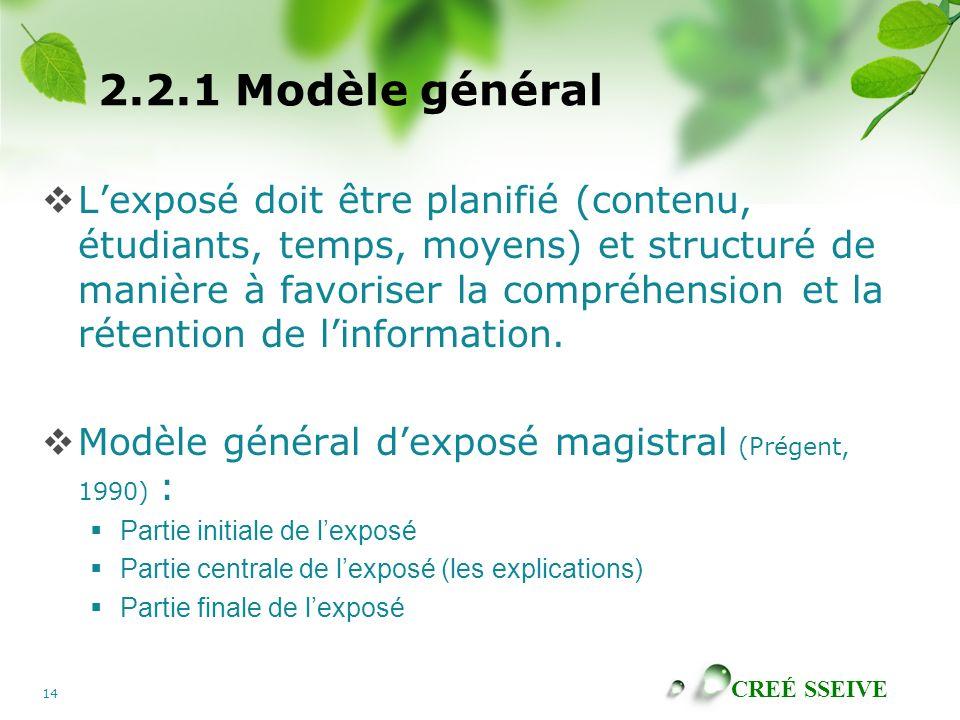 CREÉ SSEIVE 14 2.2.1 Modèle général Lexposé doit être planifié (contenu, étudiants, temps, moyens) et structuré de manière à favoriser la compréhensio