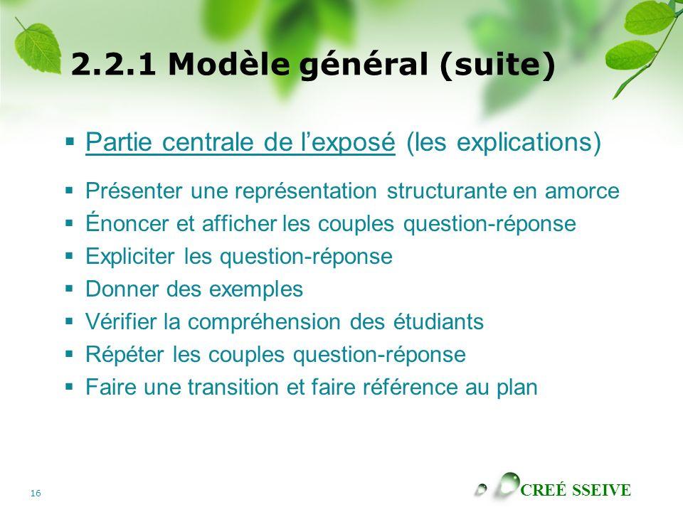 CREÉ SSEIVE 16 2.2.1 Modèle général (suite) Partie centrale de lexposé (les explications) Présenter une représentation structurante en amorce Énoncer