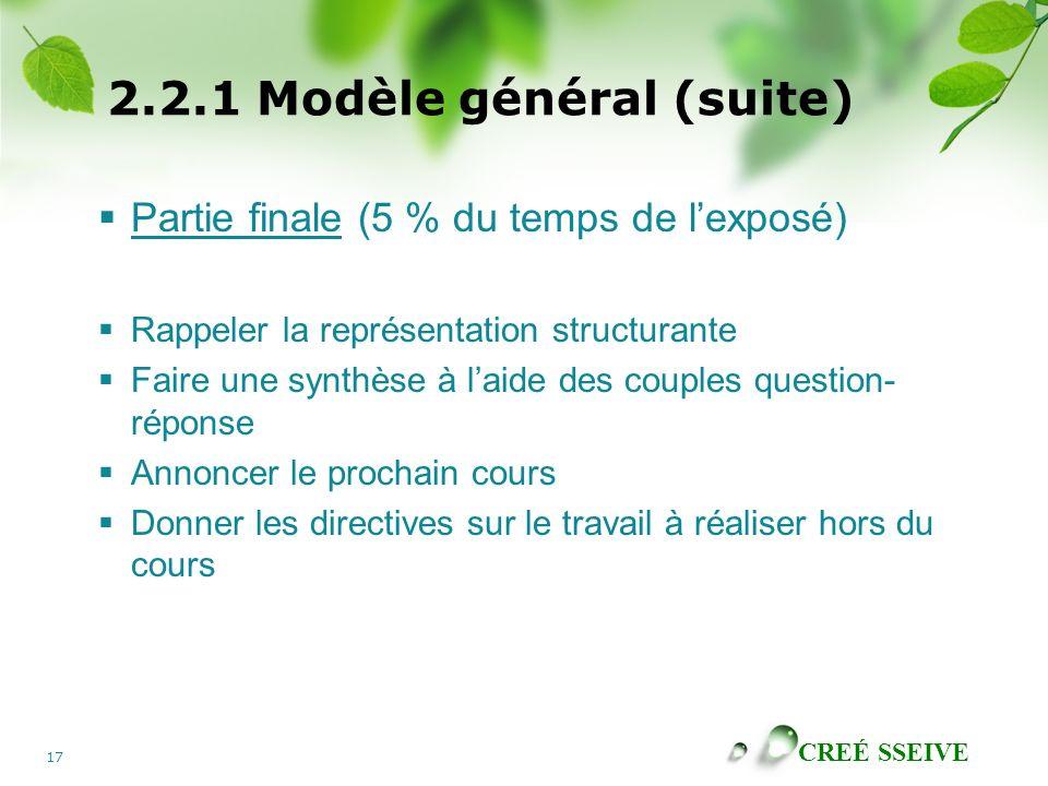 CREÉ SSEIVE 17 2.2.1 Modèle général (suite) Partie finale (5 % du temps de lexposé) Rappeler la représentation structurante Faire une synthèse à laide