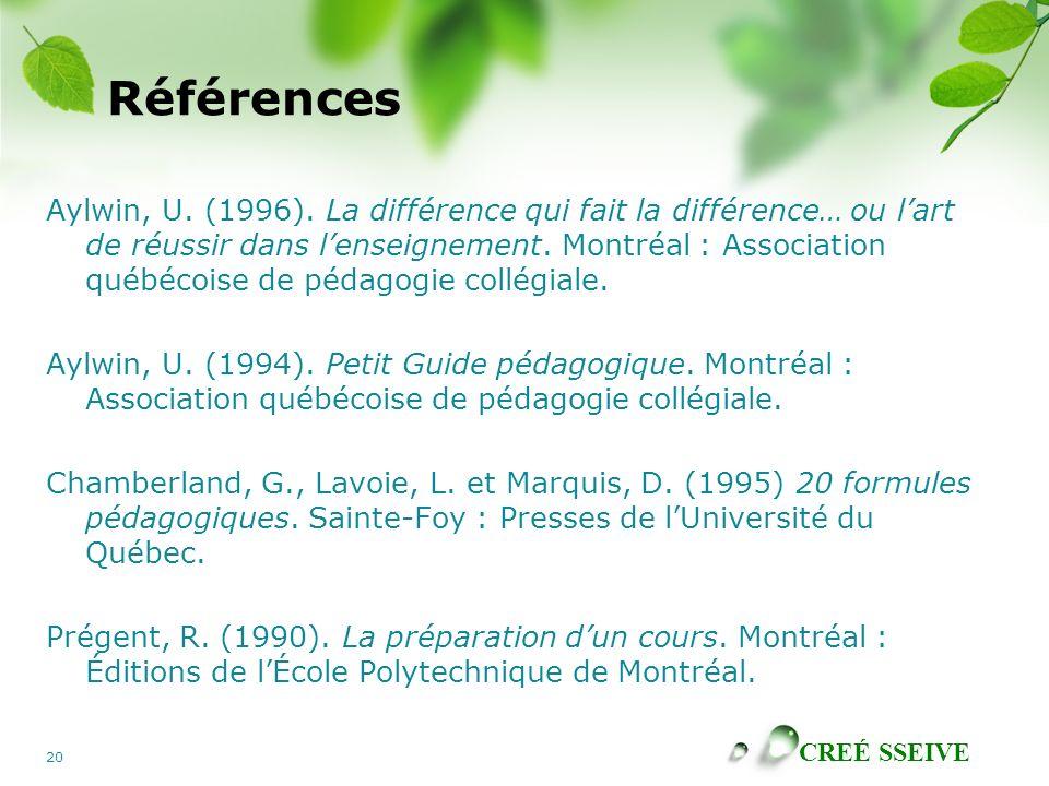 CREÉ SSEIVE 20 Références Aylwin, U. (1996). La différence qui fait la différence… ou lart de réussir dans lenseignement. Montréal : Association québé
