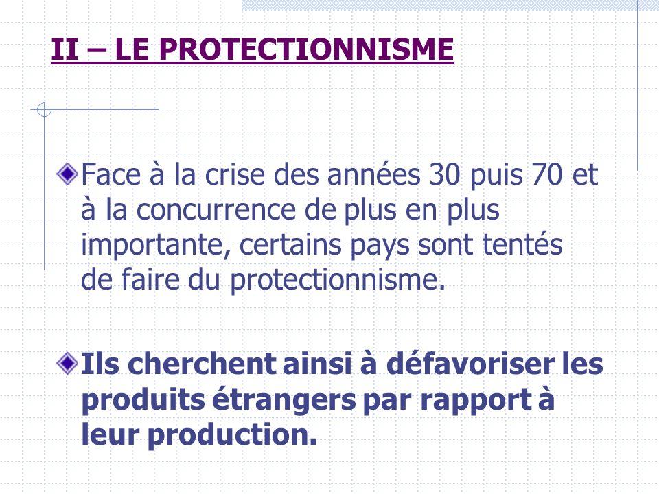 A/ LES MOYENS DACTION Quels sont les 3 moyens daction du protectionnisme .