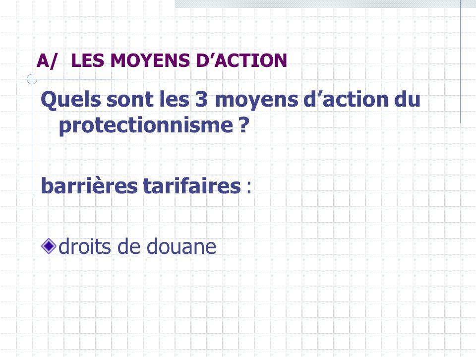 barrières non tarifaires : contingents (quotas) = restrictions sur les quantités barrières réglementaires : normes, mesures administratives subventions à lexportation et à la production versées par lEtat (ex.