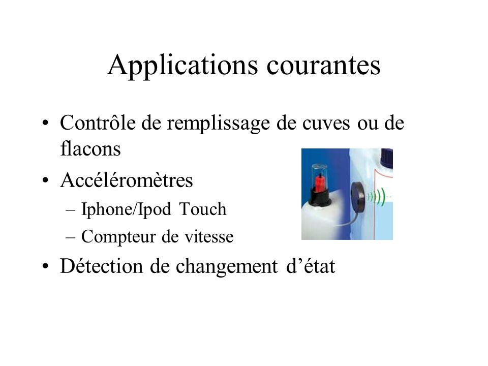 Applications courantes Contrôle de remplissage de cuves ou de flacons Accéléromètres –Iphone/Ipod Touch –Compteur de vitesse Détection de changement détat