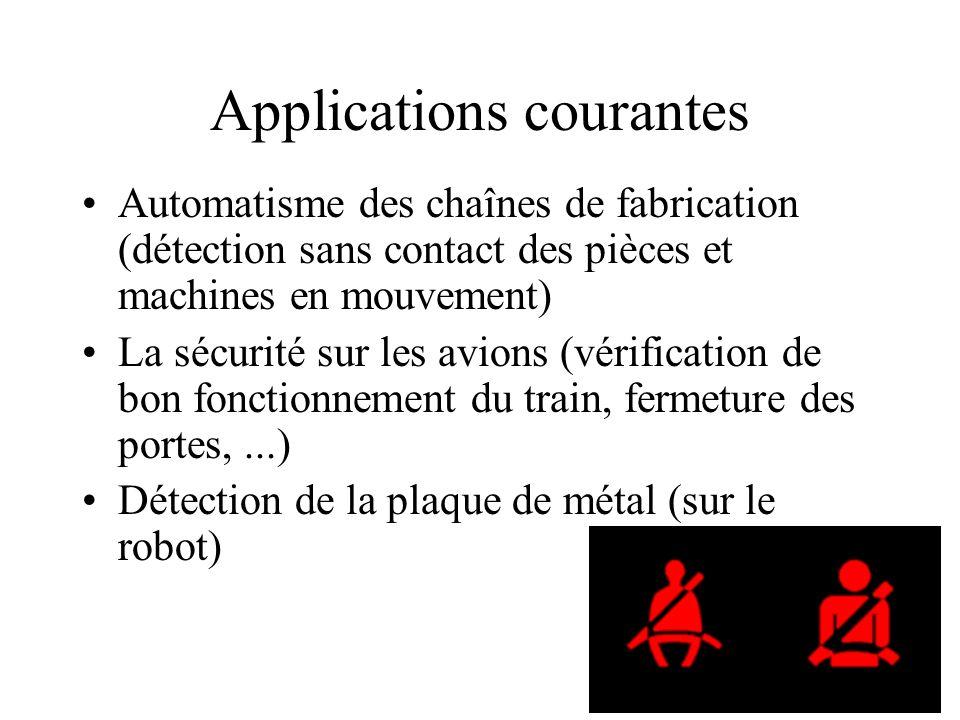 Applications courantes Automatisme des chaînes de fabrication (détection sans contact des pièces et machines en mouvement) La sécurité sur les avions (vérification de bon fonctionnement du train, fermeture des portes,...) Détection de la plaque de métal (sur le robot)