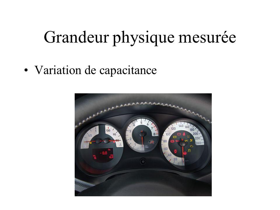 Grandeur physique mesurée Variation de capacitance