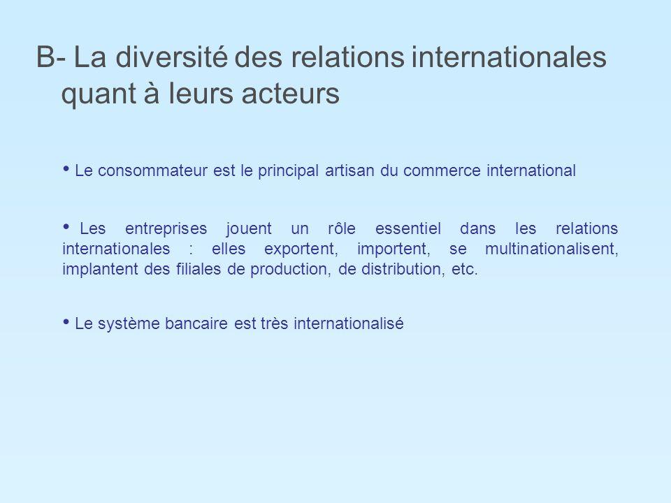 B- La diversité des relations internationales quant à leurs acteurs Le consommateur est le principal artisan du commerce international Les entreprises