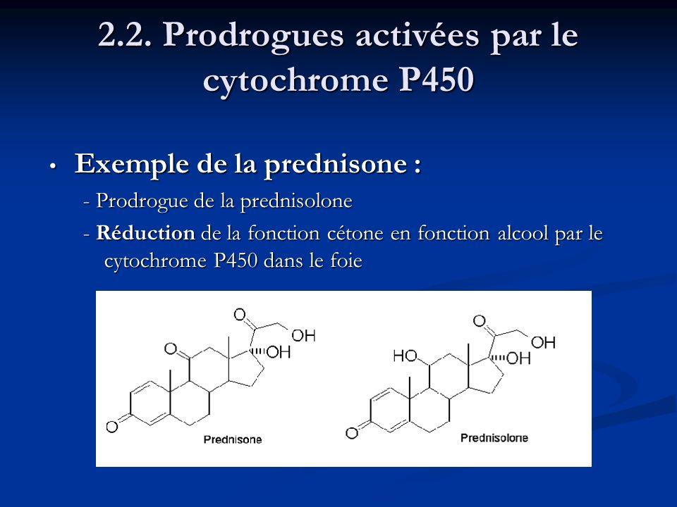 Exemple de la prednisone : Exemple de la prednisone : - Prodrogue de la prednisolone - Réduction de la fonction cétone en fonction alcool par le cytoc