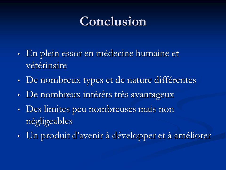 Conclusion En plein essor en médecine humaine et vétérinaire En plein essor en médecine humaine et vétérinaire De nombreux types et de nature différen