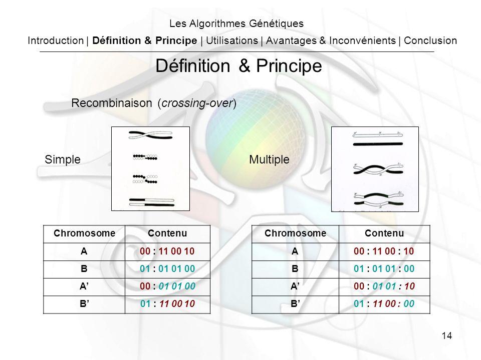 14 Recombinaison (crossing-over) ChromosomeContenu A00 : 11 00 10 B01 : 01 01 00 A00 : 01 01 00 B01 : 11 00 10 ChromosomeContenu A00 : 11 00 : 10 B01 : 01 01 : 00 A00 : 01 01 : 10 B01 : 11 00 : 00 SimpleMultiple Introduction | Définition & Principe | Utilisations | Avantages & Inconvénients | Conclusion Les Algorithmes Génétiques Définition & Principe