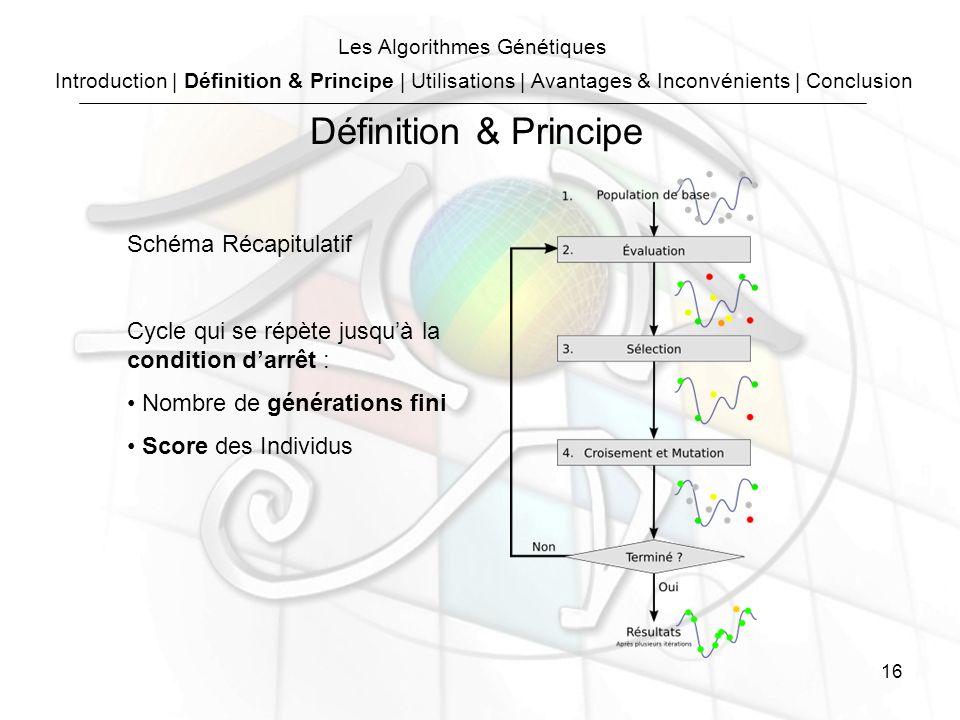 16 Les Algorithmes Génétiques Schéma Récapitulatif Cycle qui se répète jusquà la condition darrêt : Nombre de générations fini Score des Individus Introduction | Définition & Principe | Utilisations | Avantages & Inconvénients | Conclusion Définition & Principe