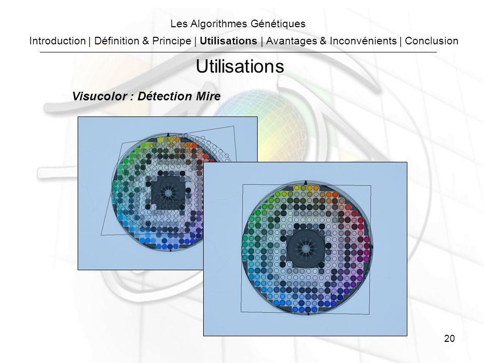 20 Les Algorithmes Génétiques Visucolor : Détection Mire Utilisations Introduction | Définition & Principe | Utilisations | Avantages & Inconvénients | Conclusion