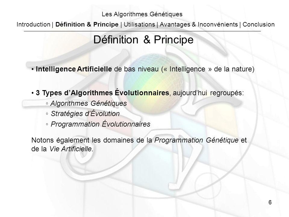 6 Les Algorithmes Génétiques Intelligence Artificielle de bas niveau (« Intelligence » de la nature) 3 Types dAlgorithmes Évolutionnaires, aujourdhui regroupés: Algorithmes Génétiques Stratégies dÉvolution Programmation Évolutionnaires Notons également les domaines de la Programmation Génétique et de la Vie Artificielle.