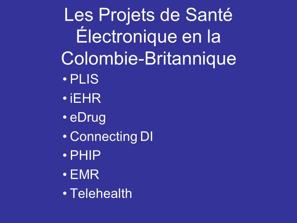 Les Projets de Santé Électronique en la Colombie-Britannique PLIS iEHR eDrug Connecting DI PHIP EMR Telehealth