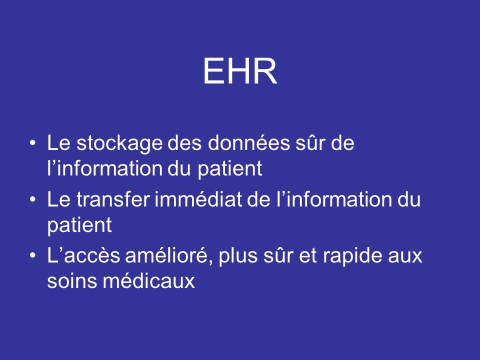 EHR Le stockage des données sûr de linformation du patient Le transfer immédiat de linformation du patient Laccès amélioré, plus sûr et rapide aux soins médicaux