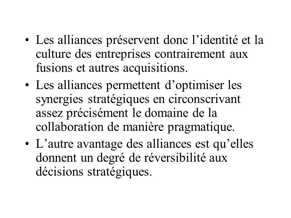 Les alliances préservent donc lidentité et la culture des entreprises contrairement aux fusions et autres acquisitions.