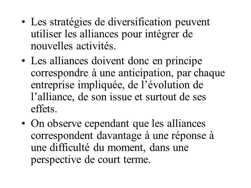 Les stratégies de diversification peuvent utiliser les alliances pour intégrer de nouvelles activités.
