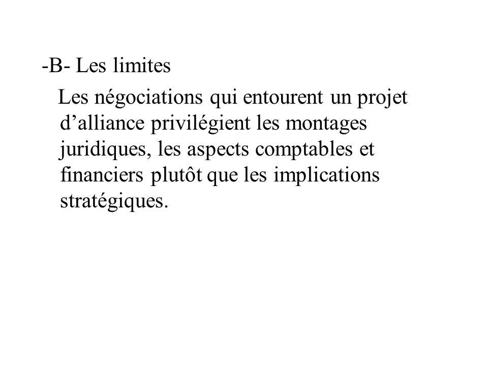 -B- Les limites Les négociations qui entourent un projet dalliance privilégient les montages juridiques, les aspects comptables et financiers plutôt que les implications stratégiques.
