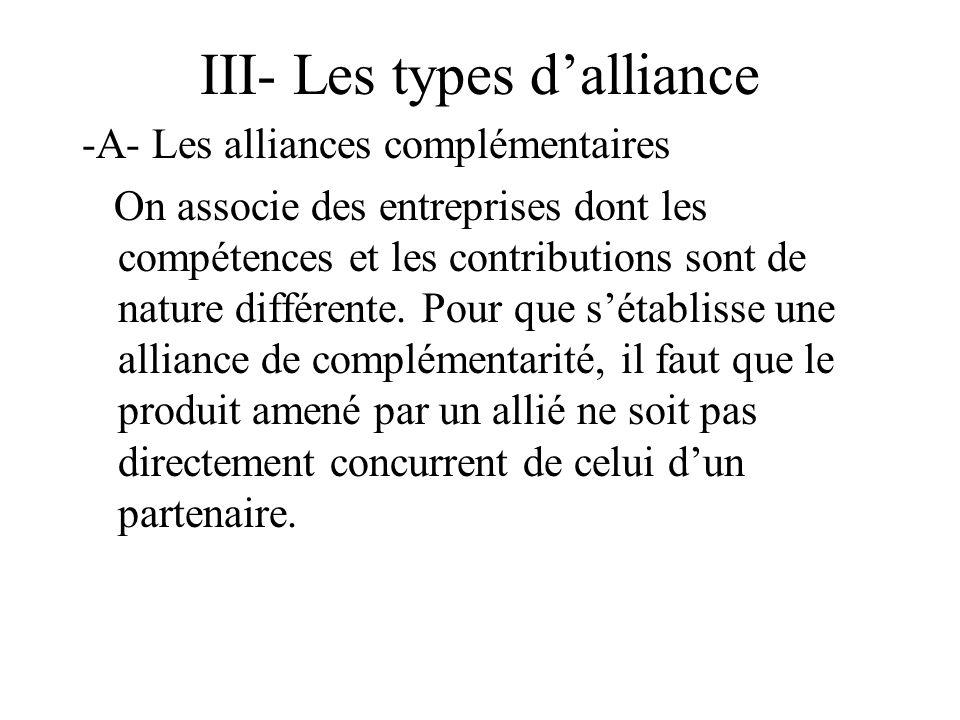 III- Les types dalliance -A- Les alliances complémentaires On associe des entreprises dont les compétences et les contributions sont de nature différente.