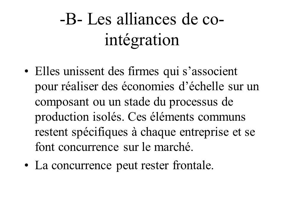 -B- Les alliances de co- intégration Elles unissent des firmes qui sassocient pour réaliser des économies déchelle sur un composant ou un stade du processus de production isolés.