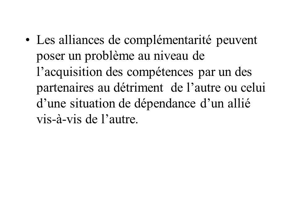 Les alliances de complémentarité peuvent poser un problème au niveau de lacquisition des compétences par un des partenaires au détriment de lautre ou celui dune situation de dépendance dun allié vis-à-vis de lautre.